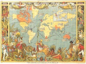A 1886 map of the British Empire - note the centrality of newly acquired British Burma, represented by the women seated to the left of Britannia with the peacock fan