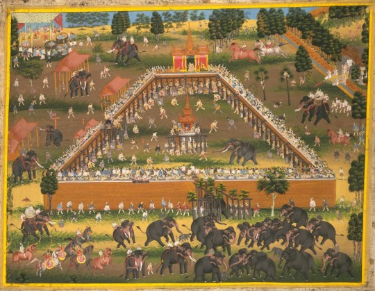 Late nineteenth century depiction of elephant training. © V&A Images