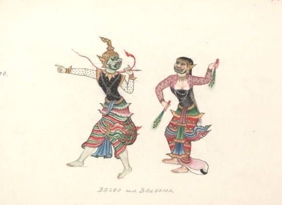 Burmese watercolour painting of a Beloo and Belooma, Burmese ogres, some of whom shape-shift to kidnap children. (From 'Watercolour Painting of Burmese Life' c.1897, available at the Oxford Digital Library.)