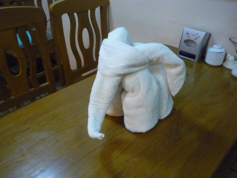 This is the closest that I have got to a real white elephant. Some white towels creatively folded into the shape of an elephant by staff at my hotel in Yangon.