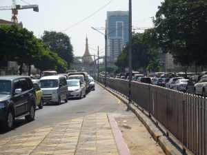 The traffic on Sule Paya road.