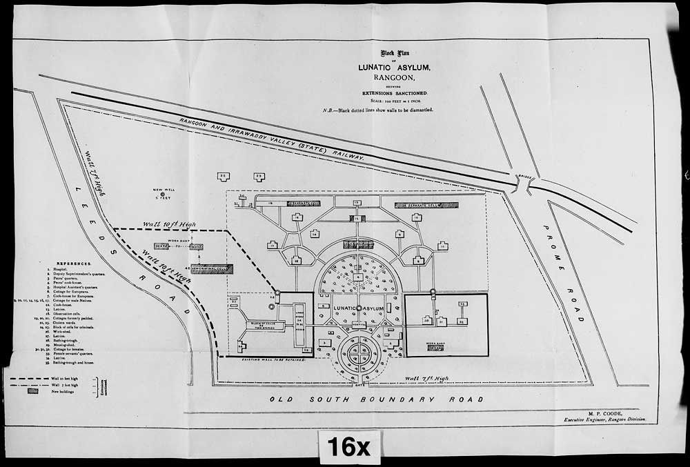 A plan of the asylum from 1893. Curiously the dairy and the cow sheds are not marked raising questions over where the animals were kept.