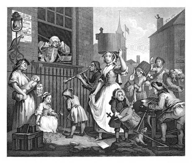 Hogarth's Enraged Musician. Source: The Works of William Hogarth: In a Series of Engravings by John Trusler (Project Gutenberg)