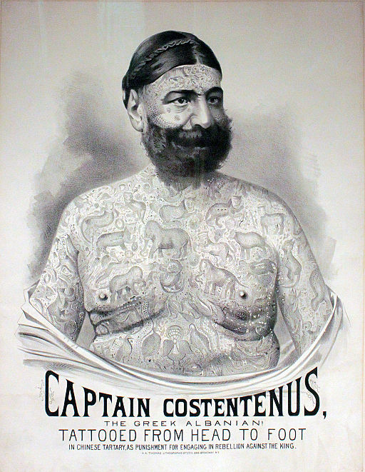 Poster advertising Captain Costentenus as a side show for the Great Farini or P. T. Barnum circus, c.1875